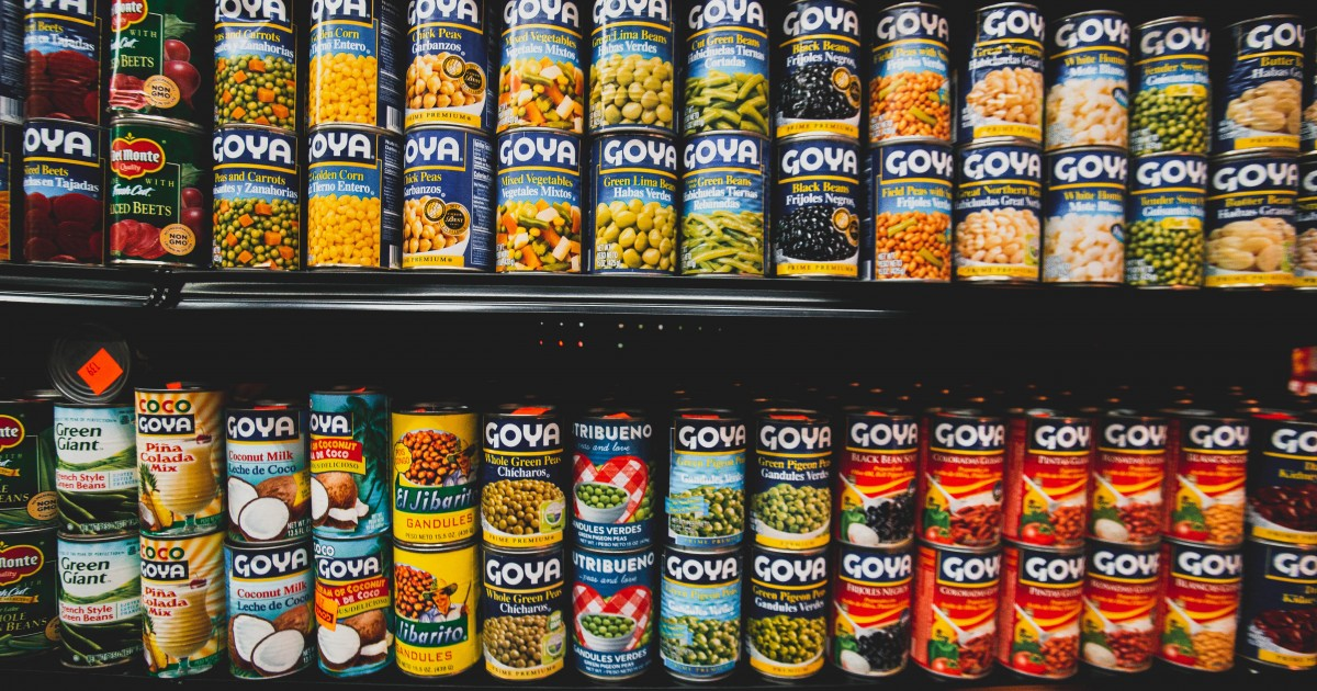 A colorful array of canned goods