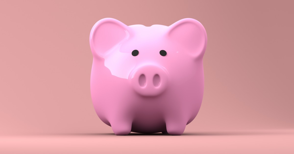 An extremely pink piggy bank looking toward the viewer